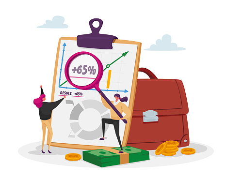Tiny Investors Female Characters Look on Growing Arrow Chart at Huge Briefcase. Invest Portfolio, Stock Market Professional Trading Strategy, Economic Management Cartoon People Vector Illustration